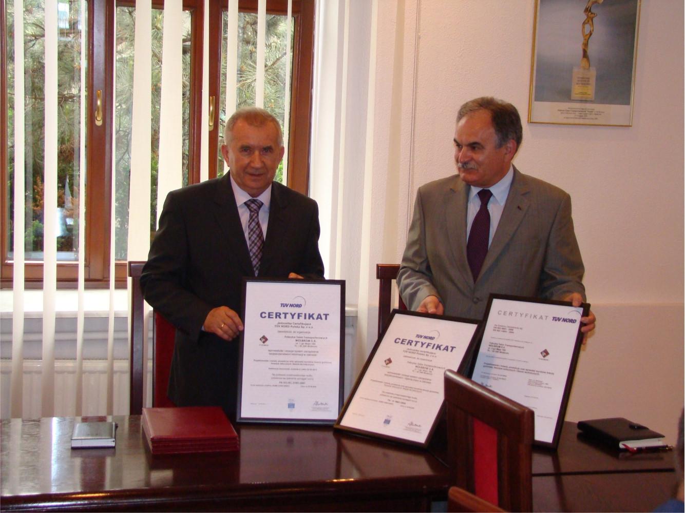 Wręczenie certyfikatów ISO