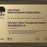 Certyfikat Wiarygodności Biznesowej dla FTT Wolbrom S.A.