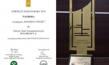 FTT Wolbrom S.A. laureatem konkursu – Górniczy Sukces Roku 2014