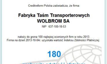 Certyfikat wiarygodności dla FTT Wolbrom S.A.