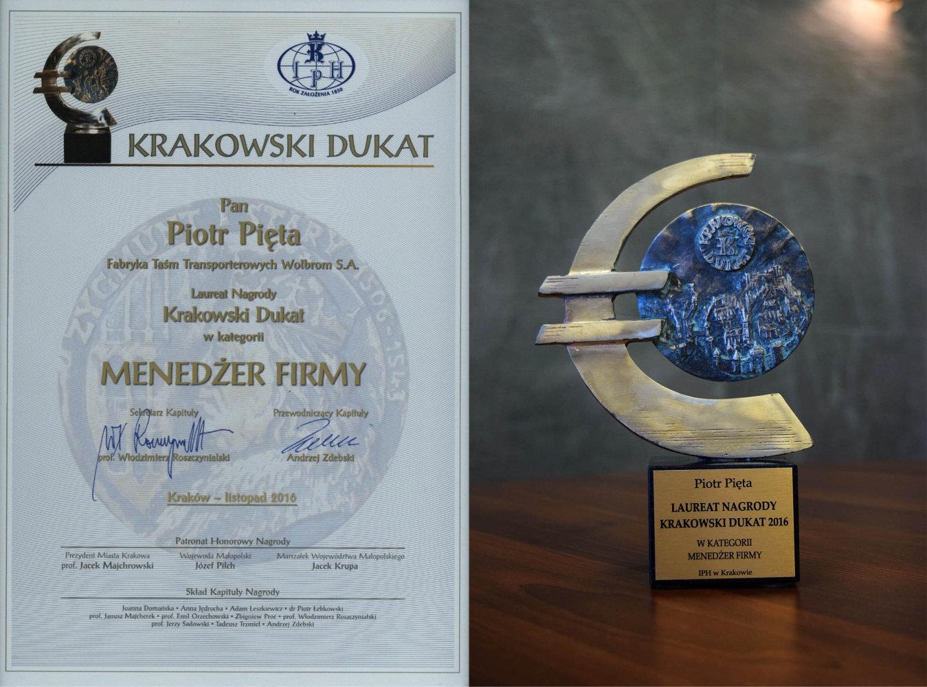 Krakowski Dukat 2016 dla Prezesa FTT Wolbrom – Piotra Pięty